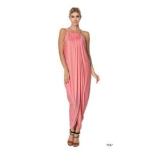 Maxi Dress Peach Drape Halter Spaghetti Strap